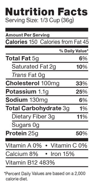 Cricket Powder Nutrition Label